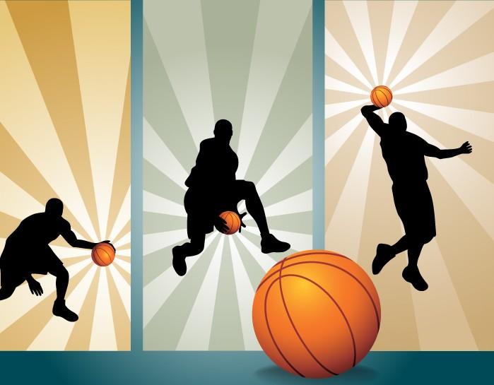 篮球运动剪影的潮流矢量