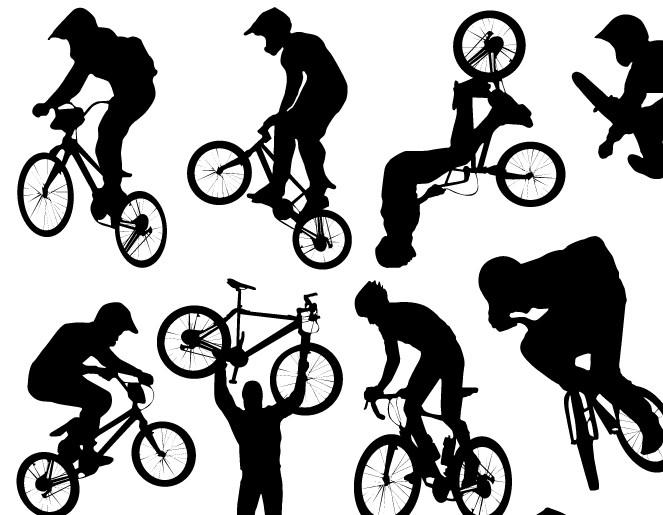 越野自行车的运动剪影矢量