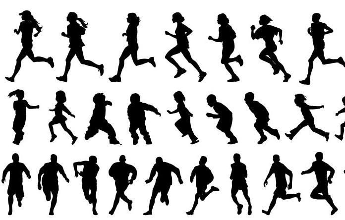 跑步人物的剪影矢量