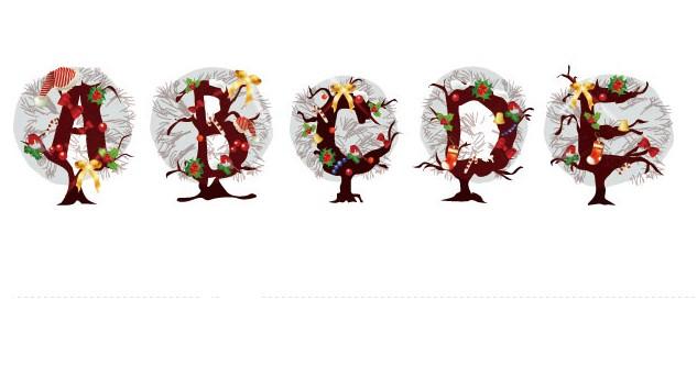 圣诞矢量图的主题英文字母