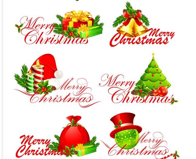 圣诞快乐矢量图的英文字体