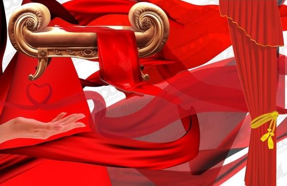 多款psd分层格式的红色飘带