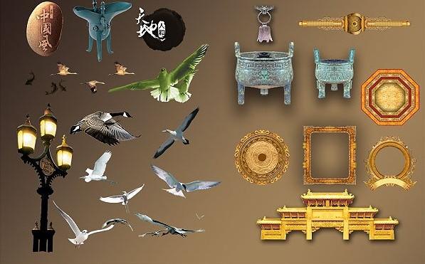 中国古典古镜古鼎牌坊元素免费素材下载 - 软件自学网