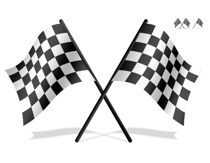 黑白psd方格小旗免费素材下载