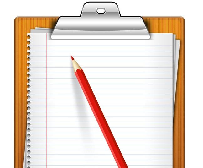 附有纸夹的笔记板和铅笔免费素材下载