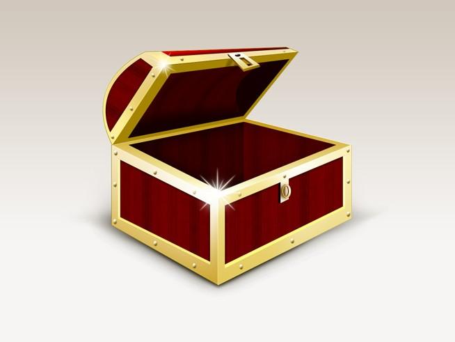 金光闪闪的宝盒免费素材下载