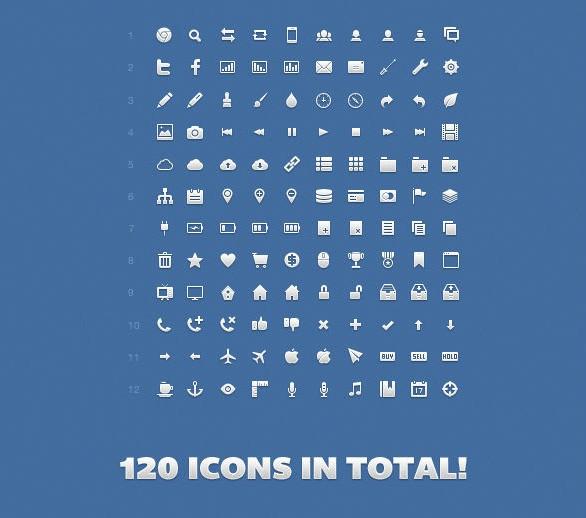 120个简单小图标免费素材下载