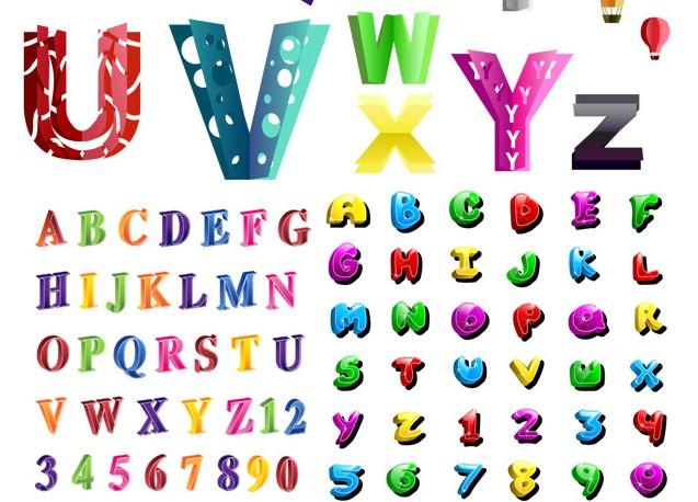 创意彩色的26个英文字母