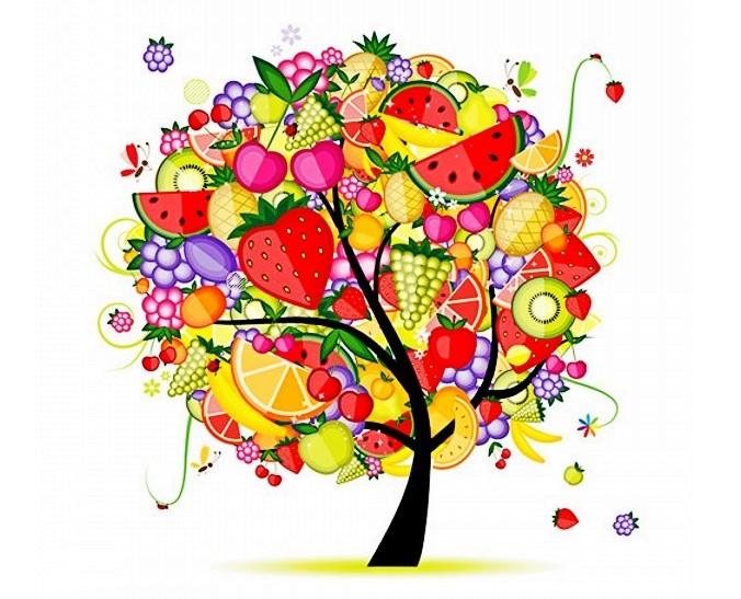 各种水果结合树的矢量素材