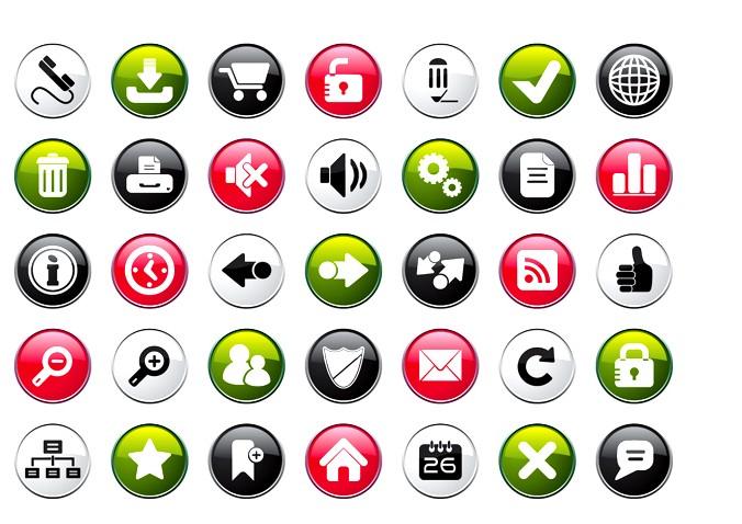 水晶按钮音量存储垃圾桶网页设计图标免费素材
