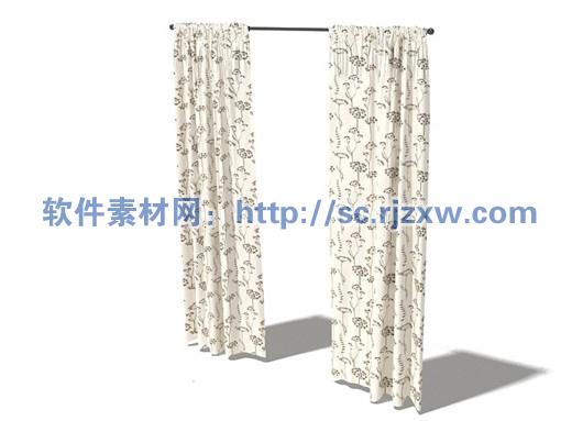 原创3d花纹窗帘模型免费素材下载