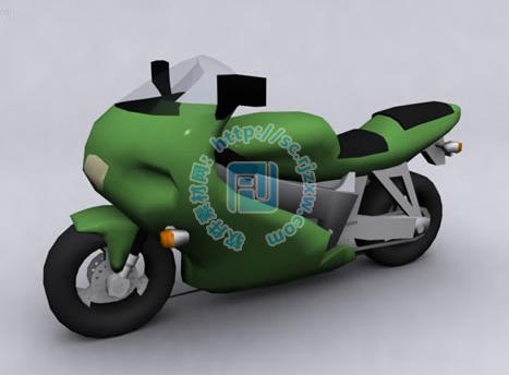 绿色摩托车3dmax模型免费素材下载
