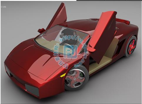 红色时尚劳斯莱斯银魅跑车3d模型免费素材下载