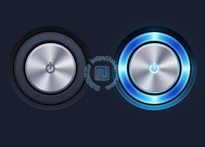 原创圆形金属质感开关按钮psd素材免费素材下载