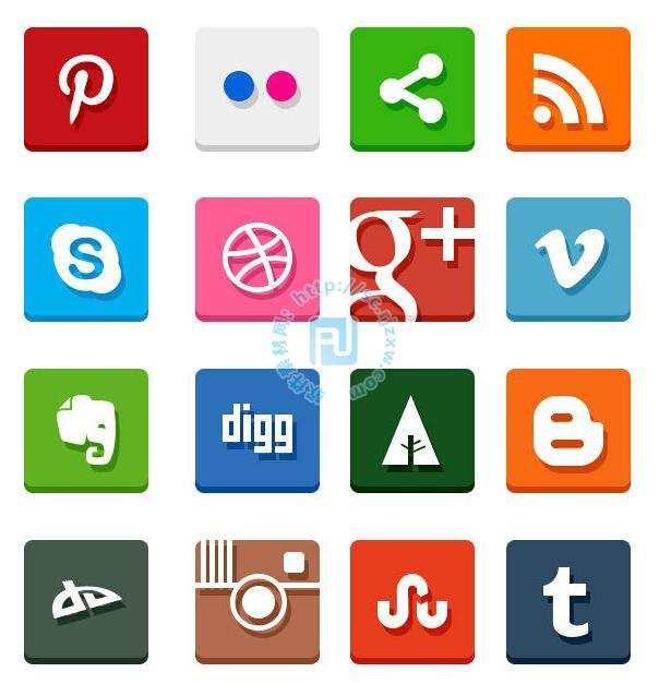 原创各种psd社交图标素材免费素材下载