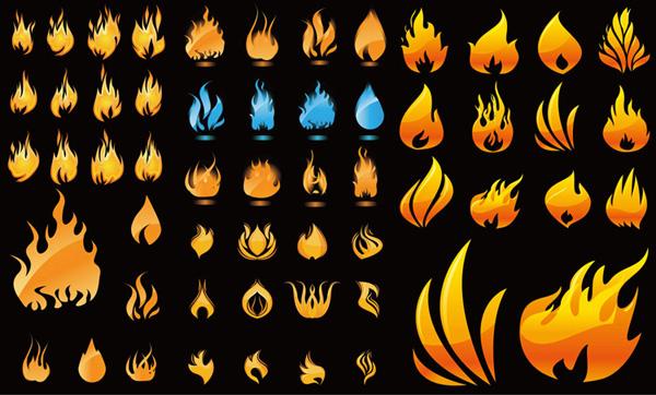 形态各异火焰矢量图设计免费素材下载