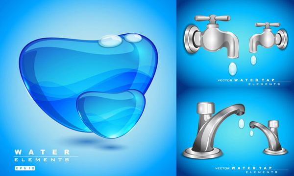 水龙头矢量图液态水主题设计免费素材下载