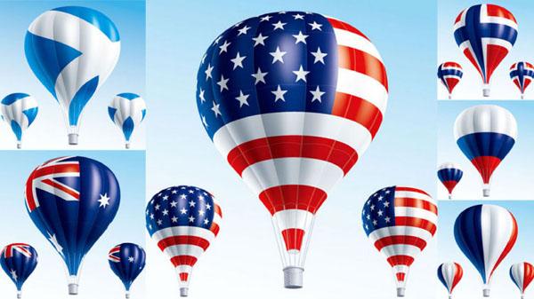 热气球国旗矢量图创意设计免费素材下载