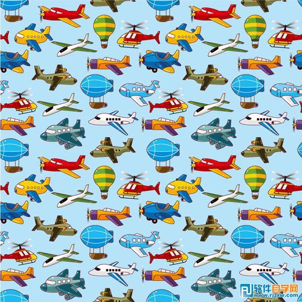 卡通飞机热气球直升机客机飞艇交通运输矢量图免费