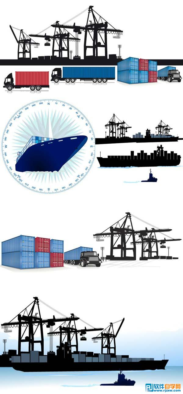 集装箱码头水运航运矢量图