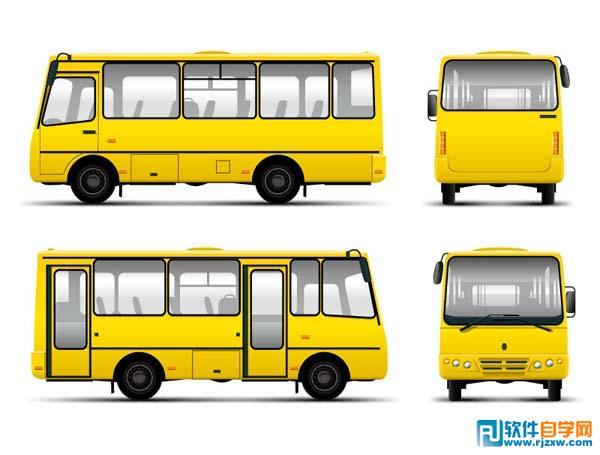 黄色长途客车矢量图免费素材下载