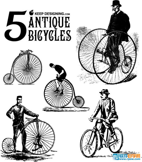 发明手绘古董自行车插图矢量图免费素材下载