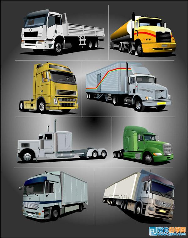 交通运输卡车矢量图免费素材下载