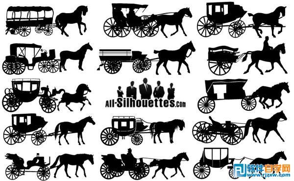 欧洲古代马车交通工具矢量图免费素材下载