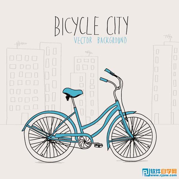 手绘插画线稿自行车矢量图免费素材下载