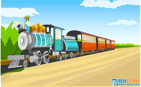 卡通原野上的内燃机车矢量图免费素材下载