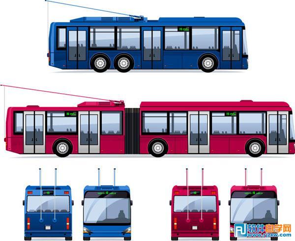 卡通无轨电车和有轨电车矢量图免费素材下载