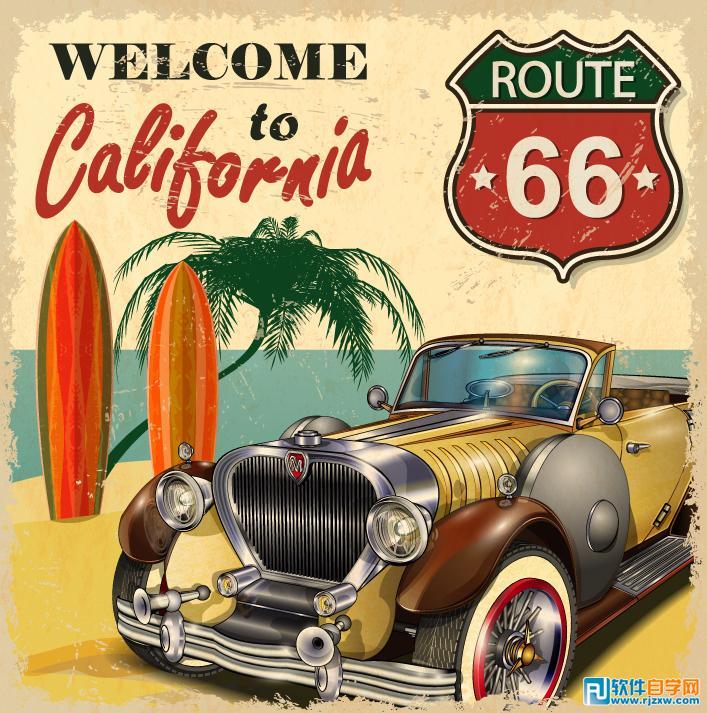 复古轿车度假海报矢量图免费素材下载
