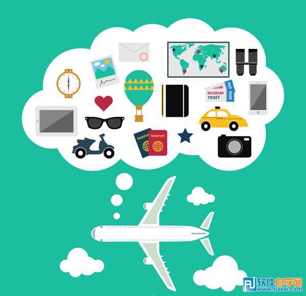 创意飞机旅行背景矢量图免费素材下载