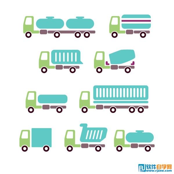 9款卡通载货汽车矢量图免费素材下载