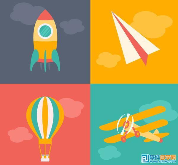 4款卡通火箭纸飞机热气球飞机矢量图免费素材下载