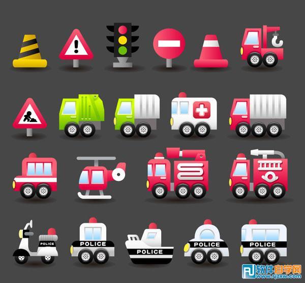 信号灯塔救护车摩托车图标免费素材下载