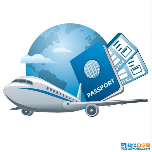 卡通客机和护照设计矢量图免费素材下载