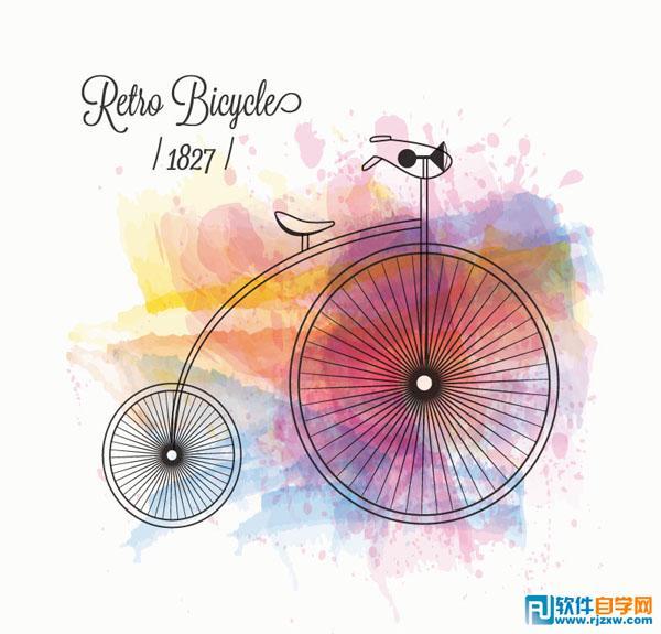 自行车创意水彩背景矢量图