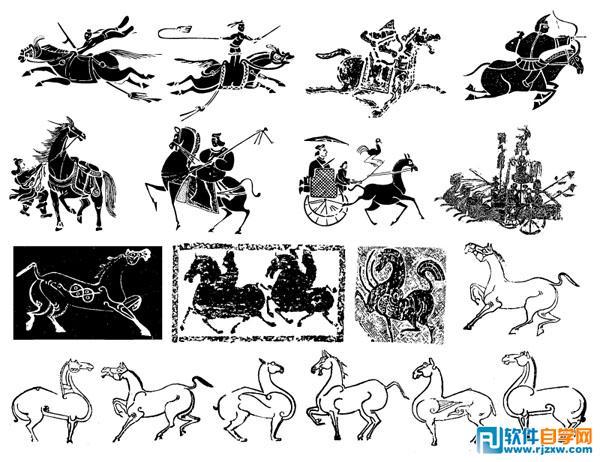 中国古代车马矢量图(古代,骑马场景,古代壁画,飞奔,青铜器,图案,马术