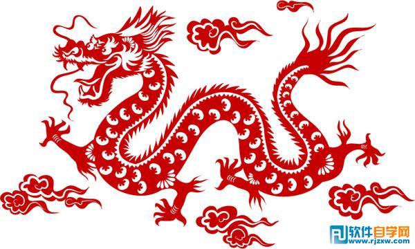 中国龙红色剪纸矢量图免费素材下载