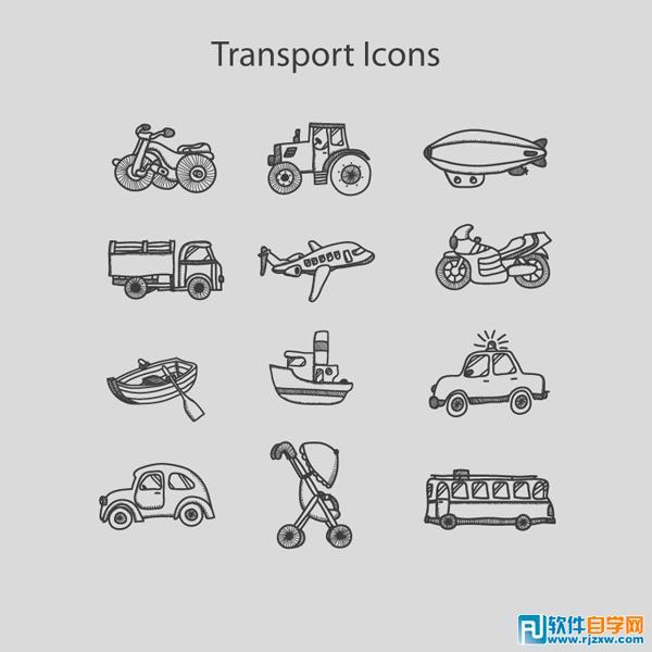12款手绘婴儿车图标矢量图免费素材下载