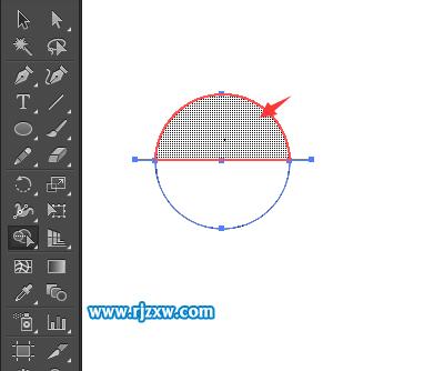 ai里怎么画半圆