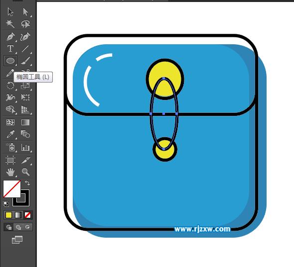 首发,再椭圆,矩形工具绘制下面的黑色图形出来.效果如下