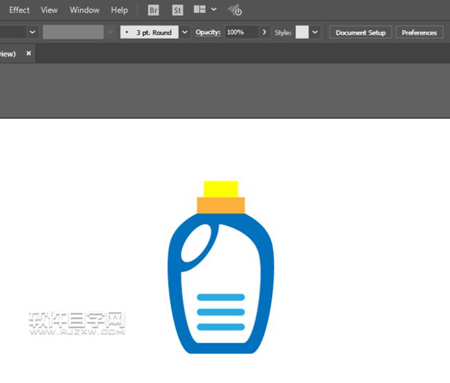 ai怎么用对称方法画洗衣液瓶图形