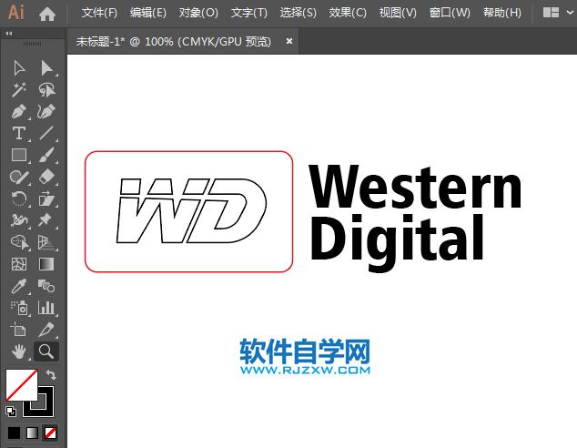 ai怎么绘制西部数据标志_软件自学网