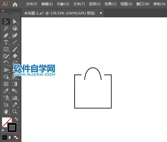 购物袋简笔画用AI绘制的方法_软件自学网