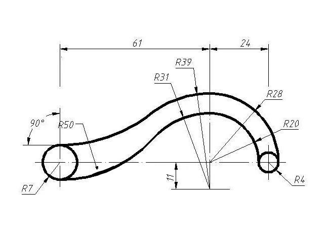圆相切标注的CAD练习题CAD复制过来不见了关系图片