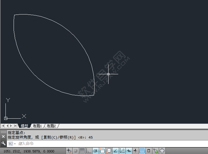 在CAD中怎么旋转图形_软件自学网
