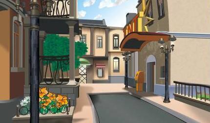 coreldrawx7设计欧洲小镇街道场景