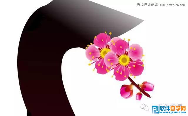 一朵梅花简笔画带颜色